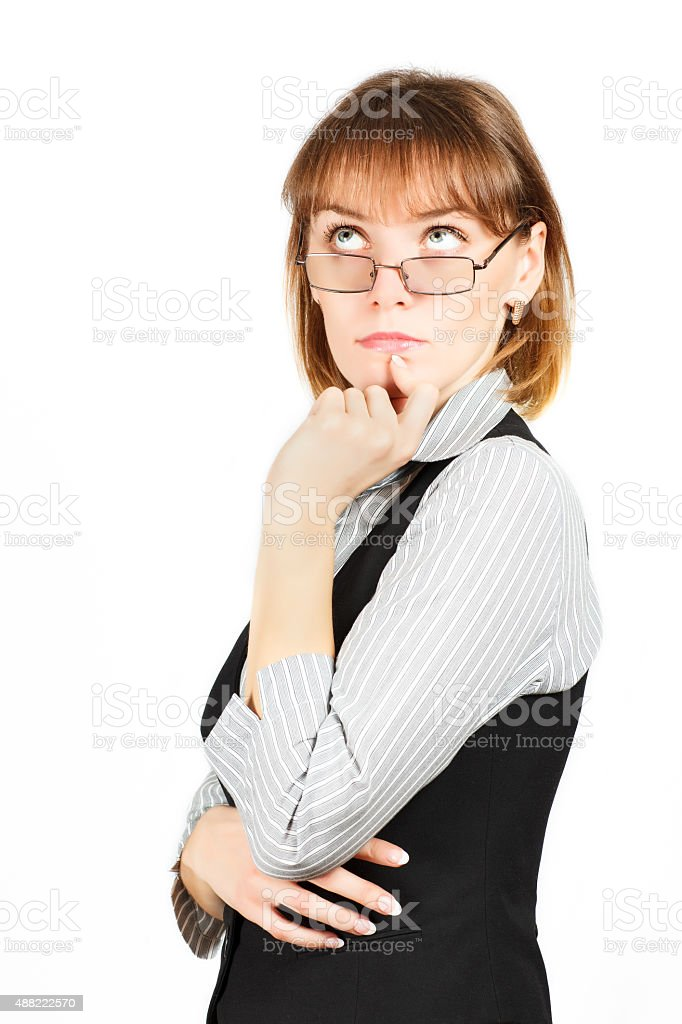 Business woman . Portrait of girl with glasses . stock photo