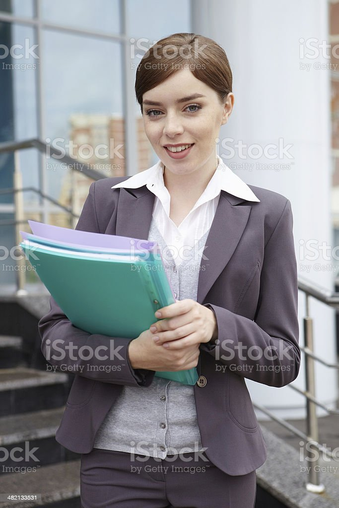 Business woman. Portrait with documents. royalty-free stock photo