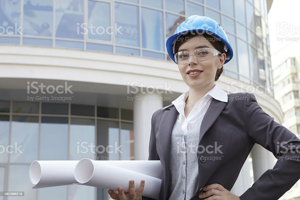 Business woman. Portrait with drawings. royalty-free stock photo