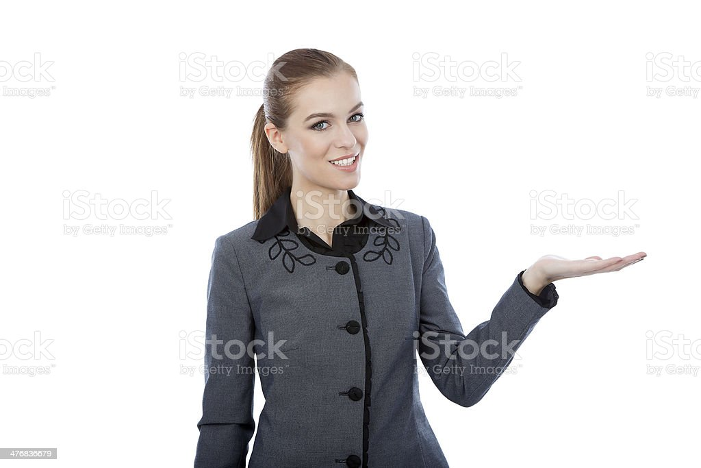 Business woman presenting a copyspace. Isolated on white backgro royalty-free stock photo