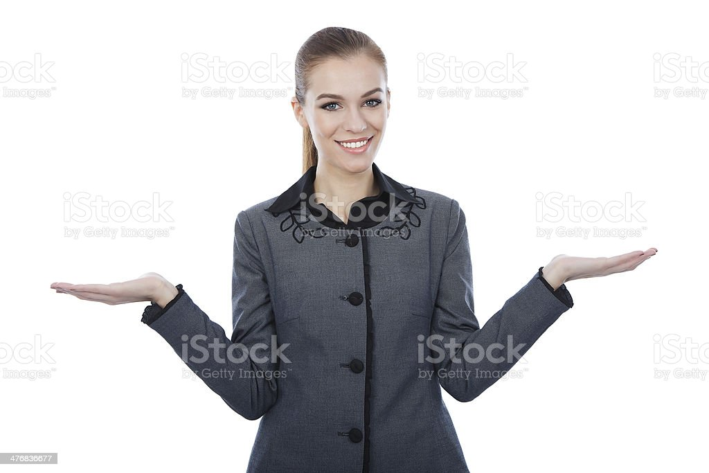 Business woman presenting copy space. royalty-free stock photo