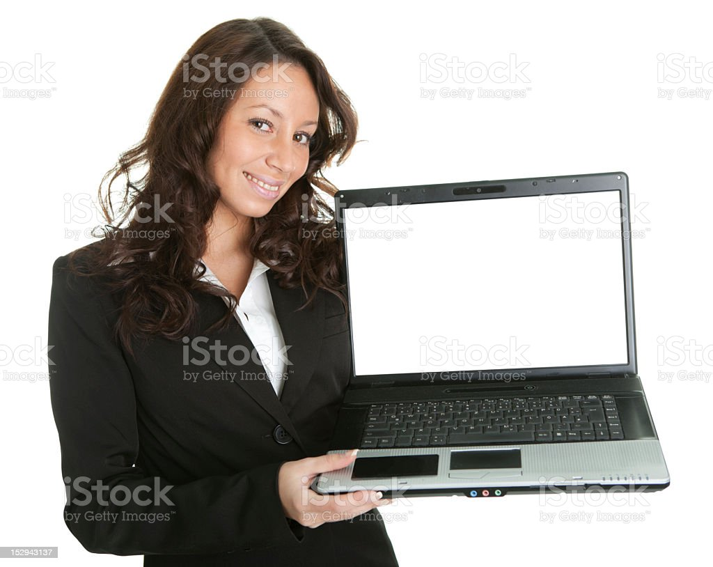 Business woman presenting laptopn royalty-free stock photo