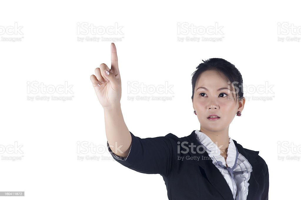 Business woman pressing button or something. royalty-free stock photo