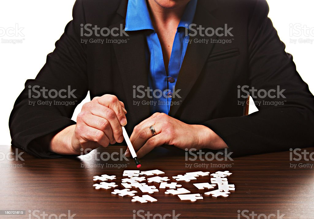 Business Woman Puzzle royalty-free stock photo