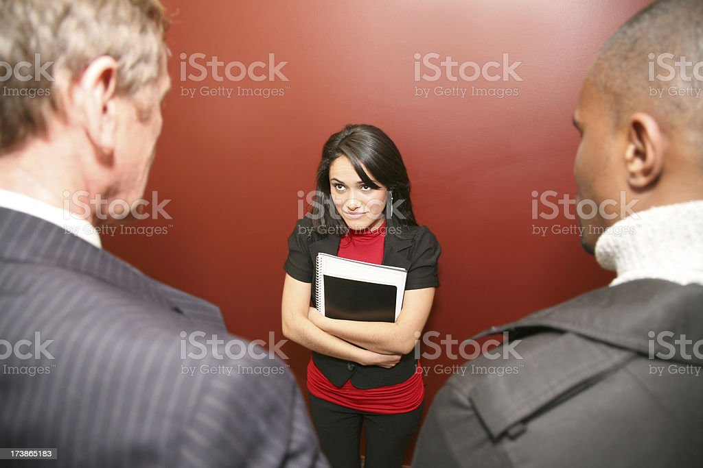 Business Woman Questioning Male Office Dominance stock photo