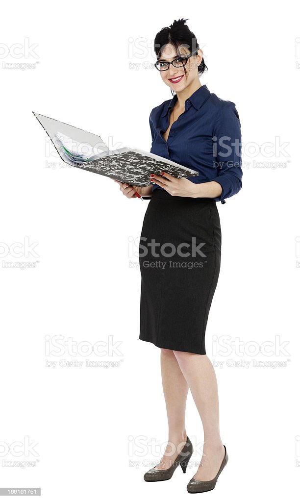 Business Woman Reading Document royalty-free stock photo