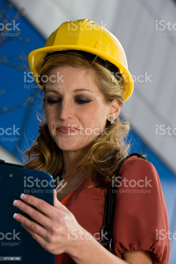 Business Woman Reviews A Project Plan royalty-free stock photo