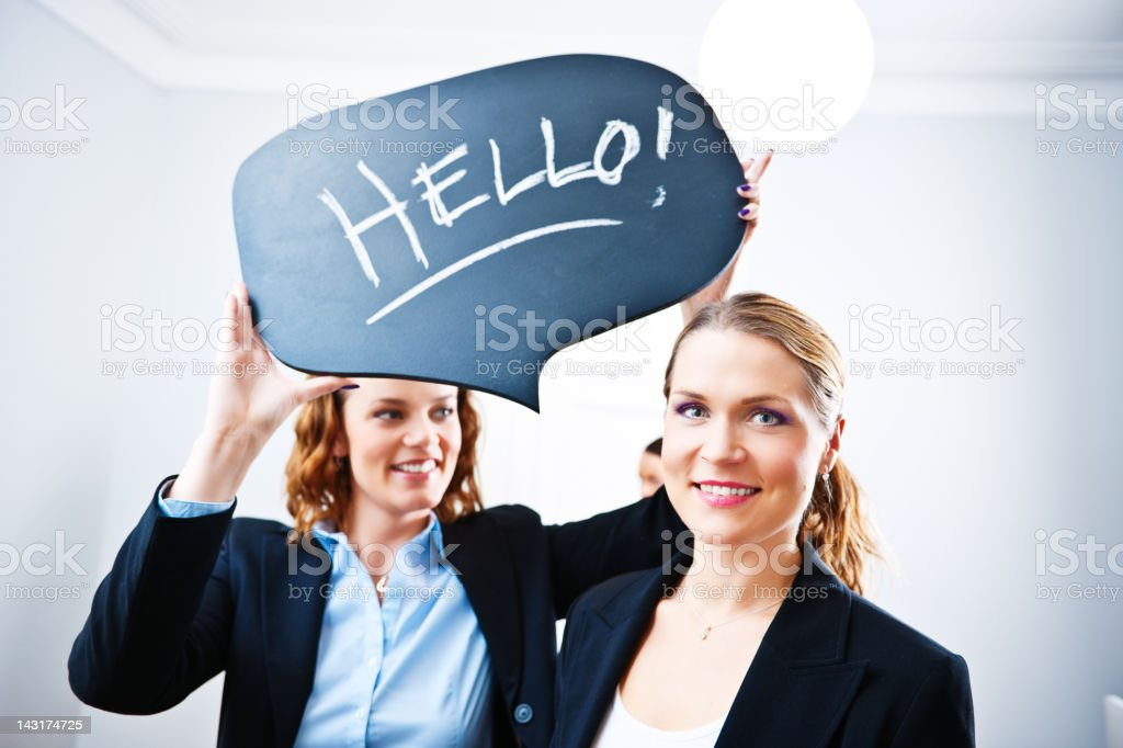 Business woman saying hello royalty-free stock photo