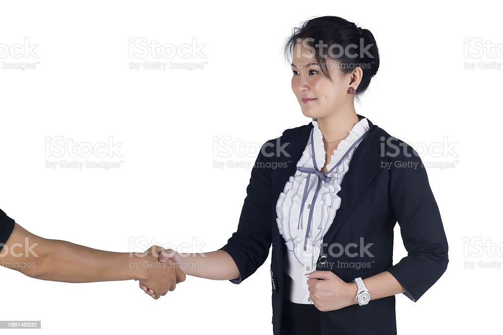 Business woman shake hand with her client royalty-free stock photo