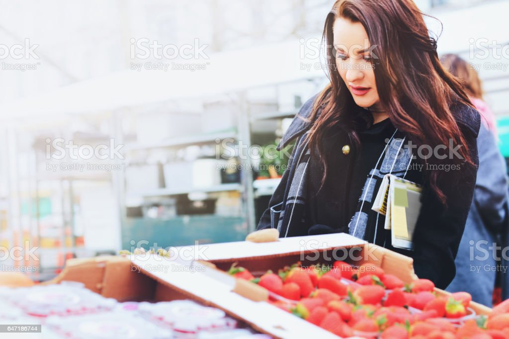 Business woman shopping at the street market, city business stock photo