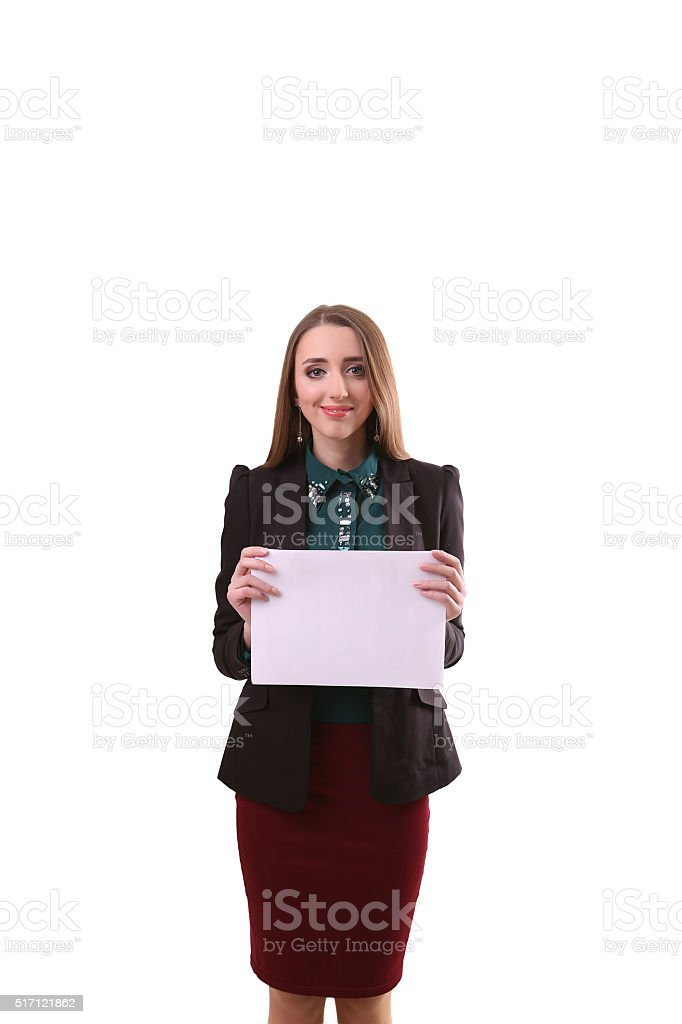 Business woman show board, banner with copy space.finger pointin royalty-free stock photo