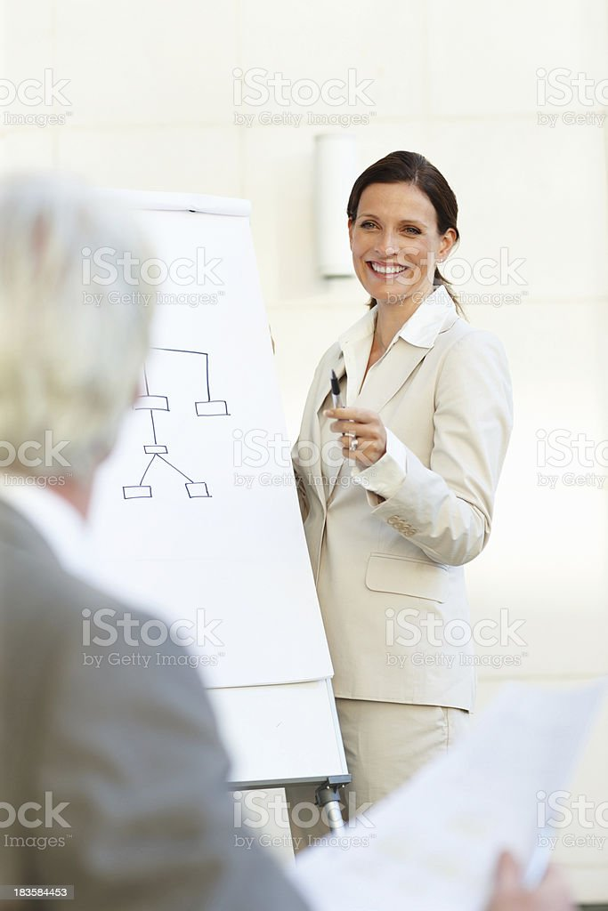 Business woman showing a chart royalty-free stock photo
