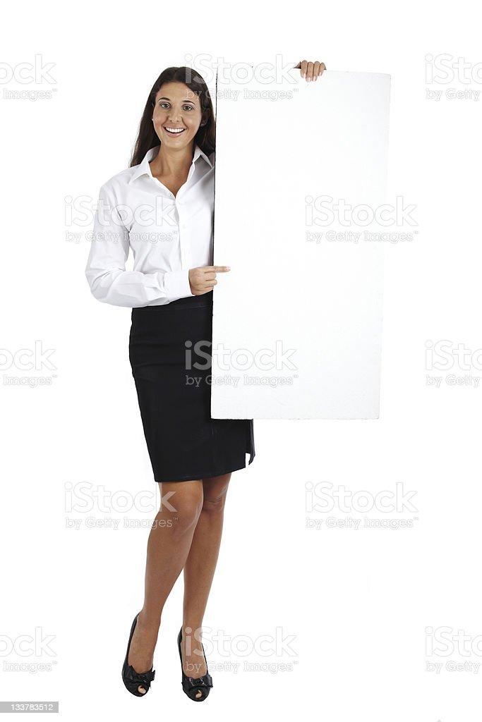 Business woman showing blank billboard royalty-free stock photo