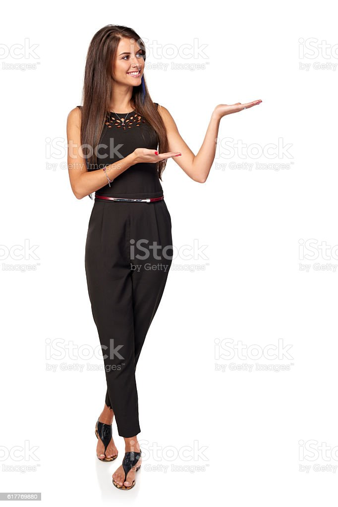 Business woman showing blank copy space stock photo