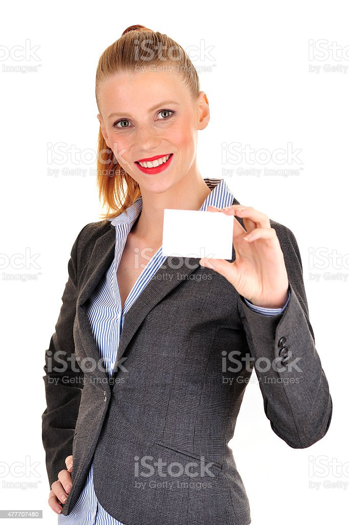 Business woman showing her card stock photo