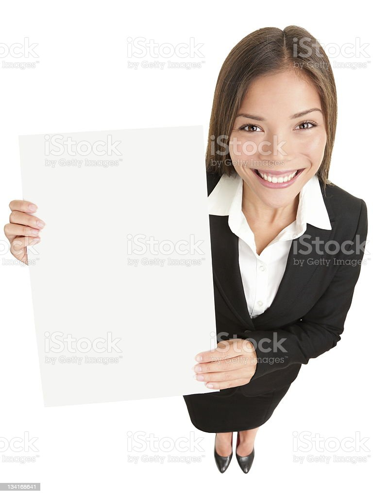 Business woman showing sign stock photo