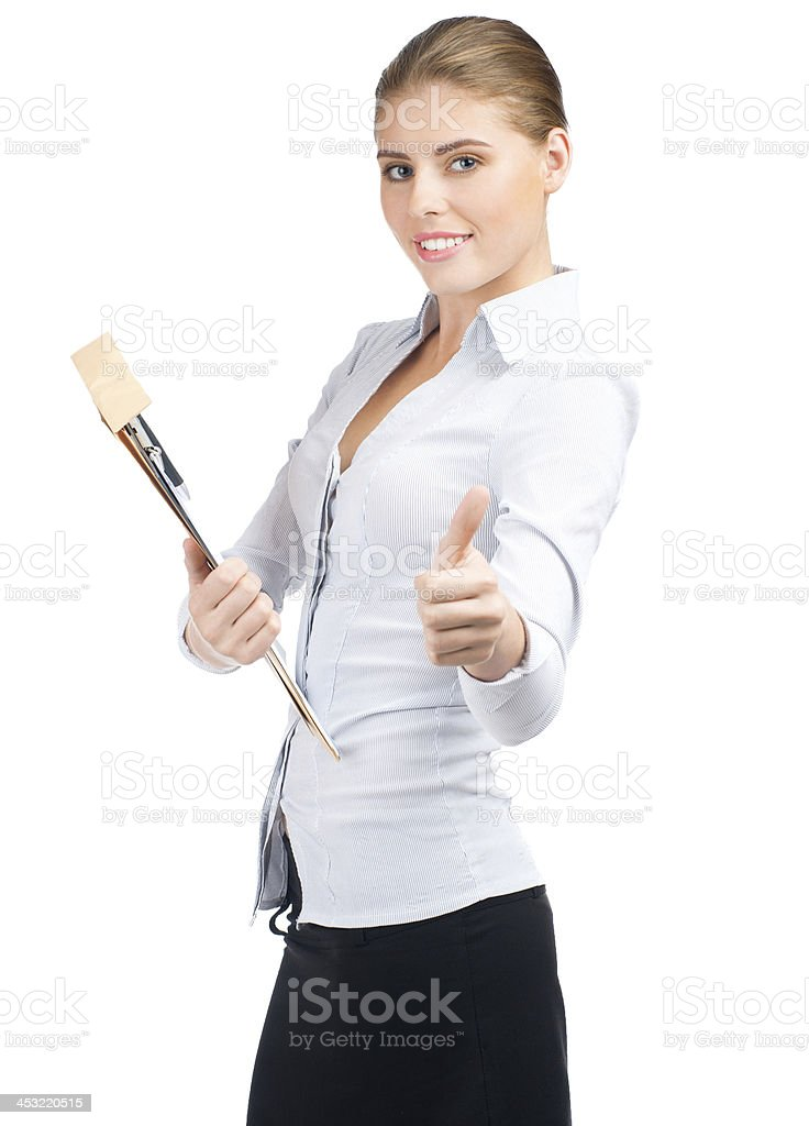 Business woman showing thumbs up royalty-free stock photo