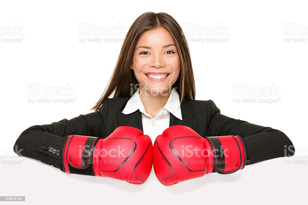 business woman sign - boxing gloves royalty-free stock photo