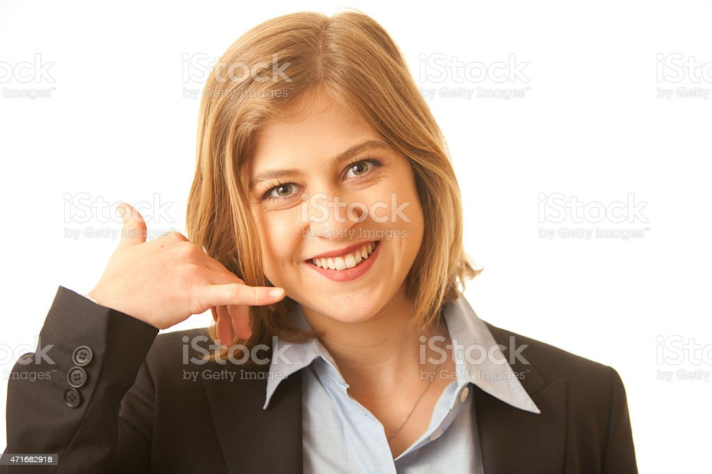Business Woman Signals to Call Her stock photo