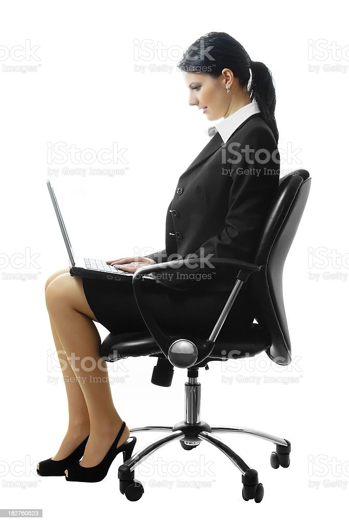 Business woman sitting with laptop royalty-free stock photo