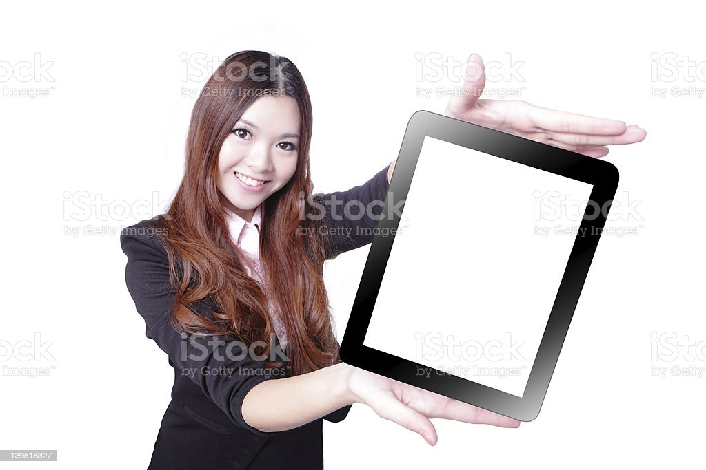 Business woman smile and showing tablet pc royalty-free stock photo
