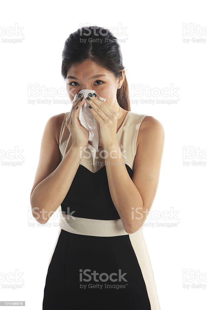Business Woman Sneezing royalty-free stock photo