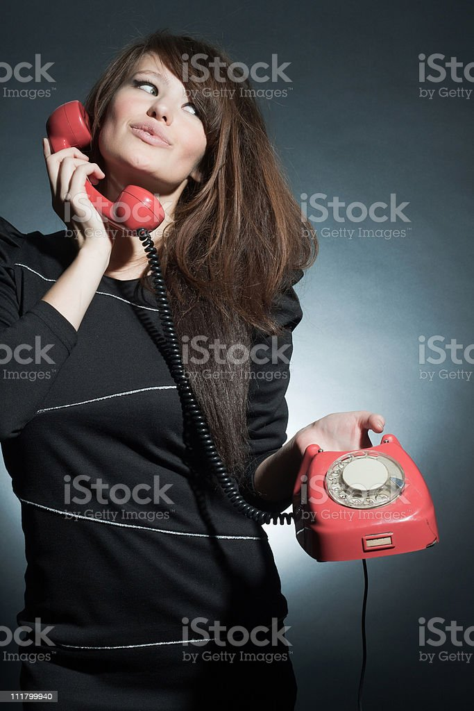 business woman speaking on a retro to phone. royalty-free stock photo