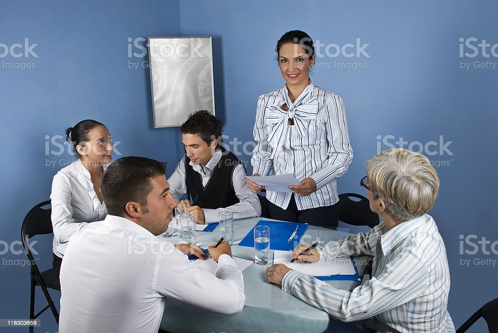 Business woman speech at meeting royalty-free stock photo