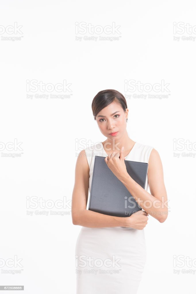 Business woman standing and holding file stock photo