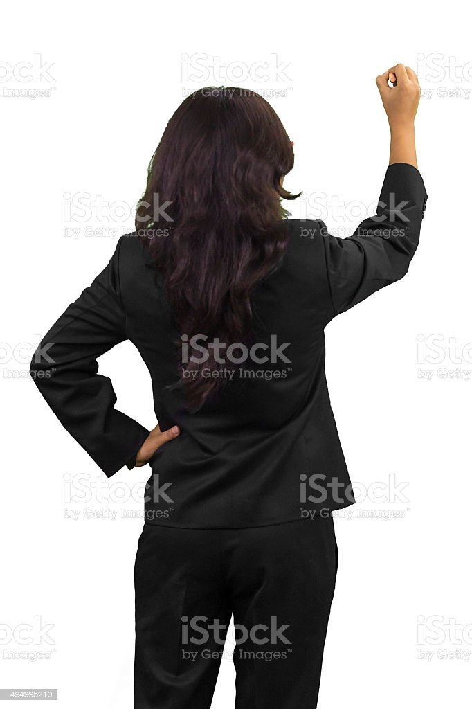 business woman standing to the back side stock photo