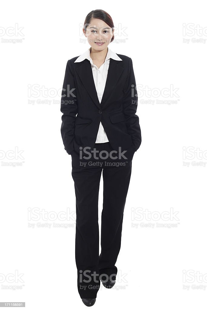 business woman standing with white background royalty-free stock photo