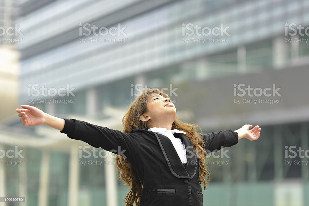 business woman stretch oneself stock photo