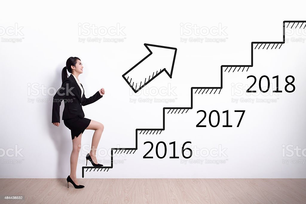 Business woman success in new year stock photo
