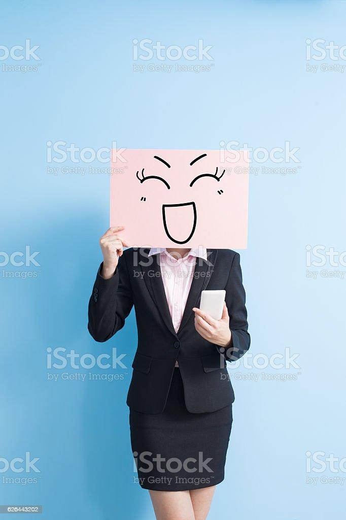 business woman take billboard stock photo