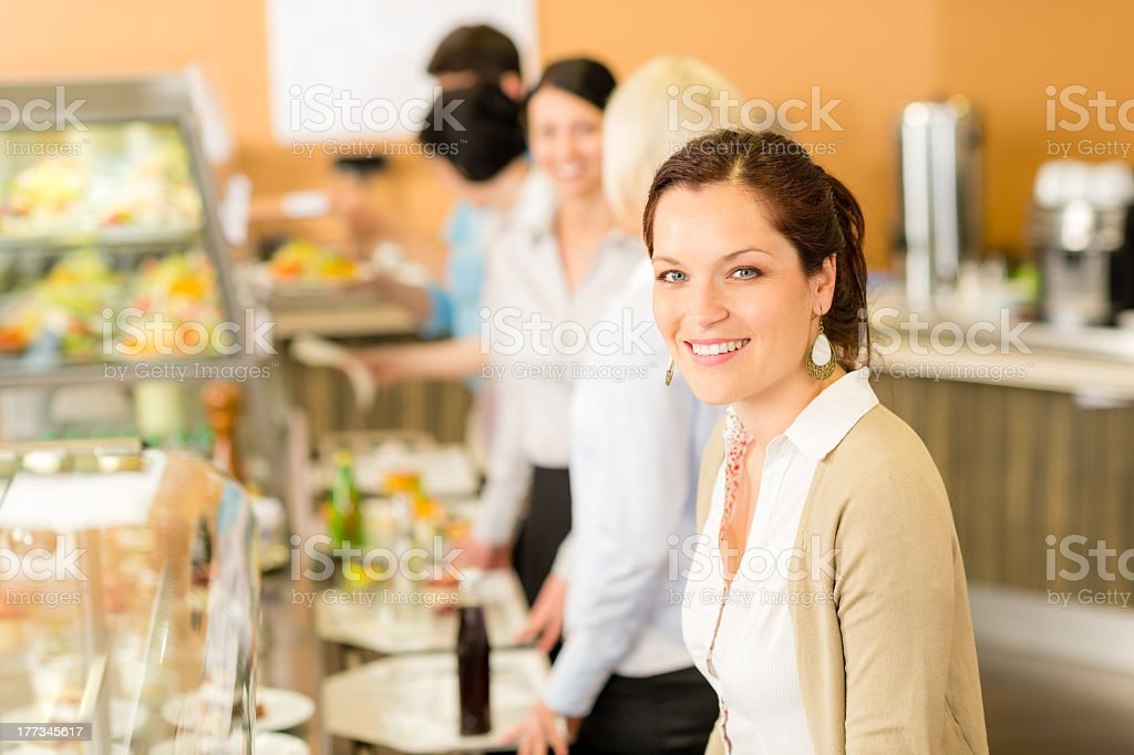 Business woman take cafeteria lunch smiling stock photo