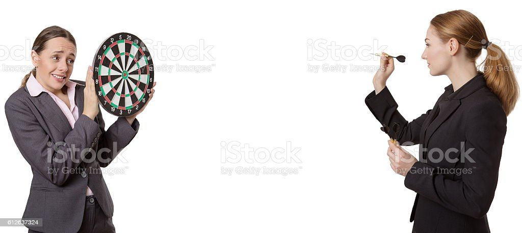 business woman target practice stock photo