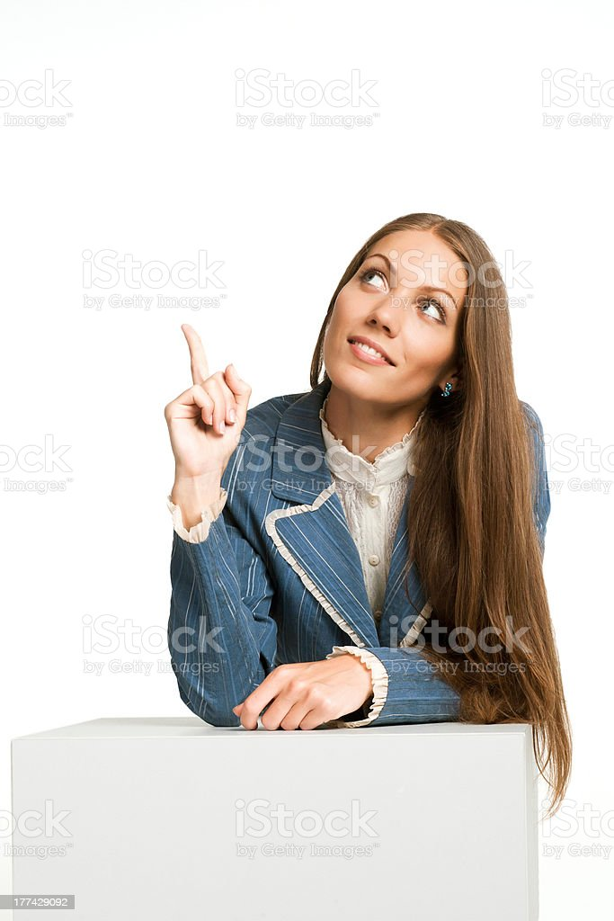 business woman think looking up point finger stock photo