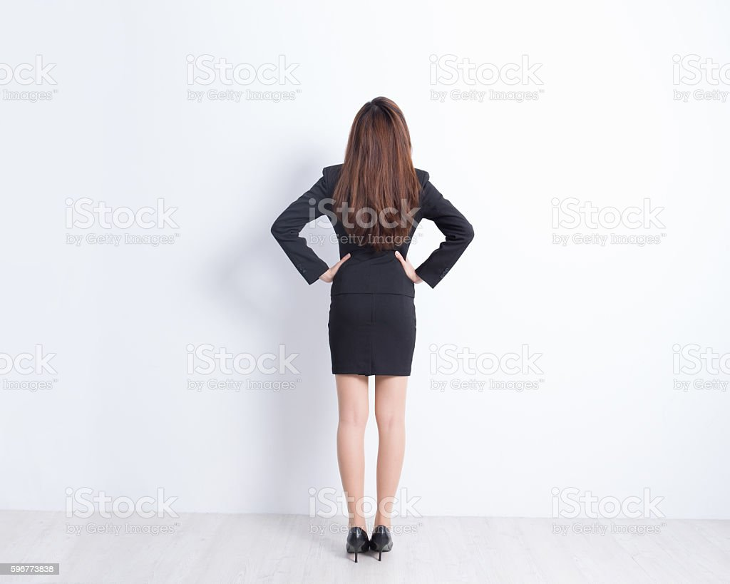 business woman think stock photo