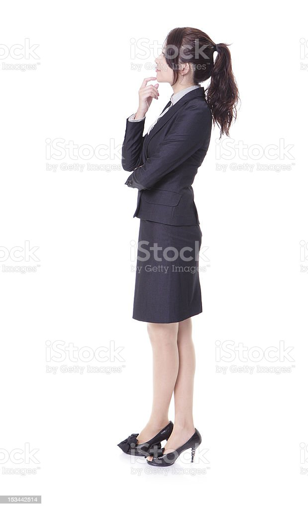 business woman think something in profile stock photo