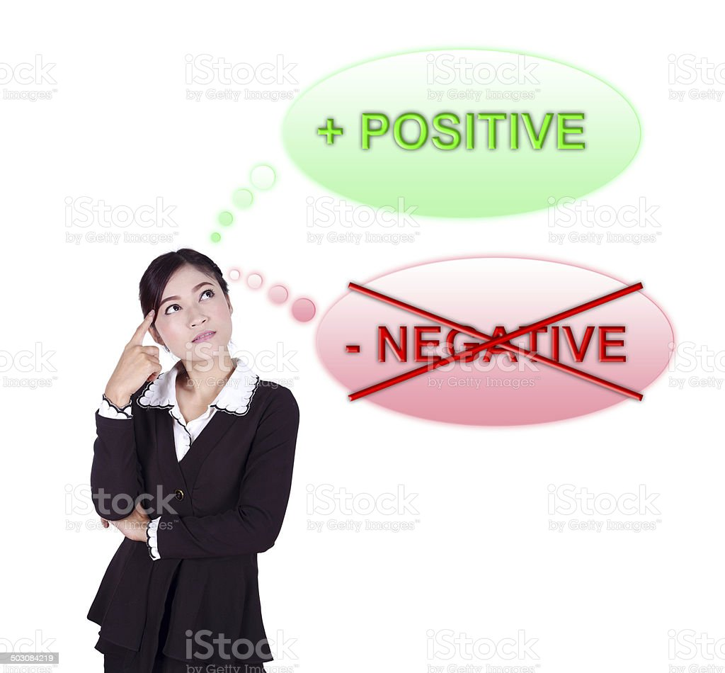 Business woman thinking about positive stock photo