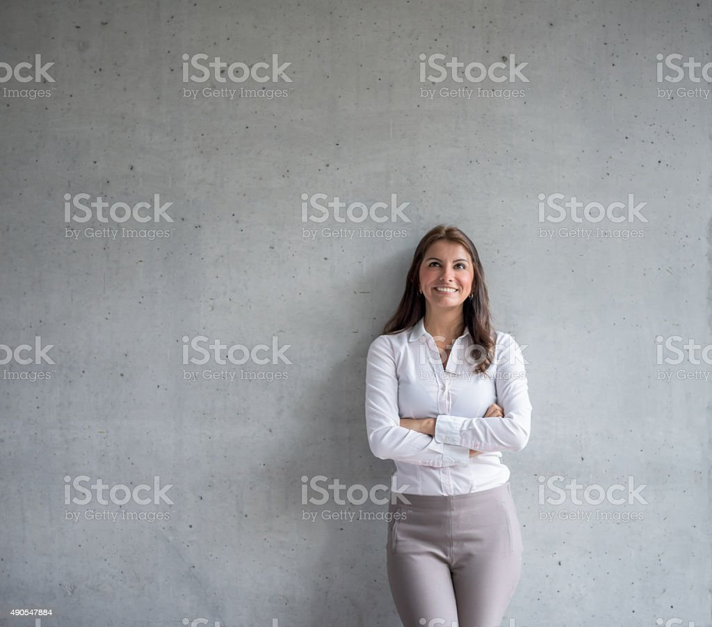 Business woman thinking at the office stock photo