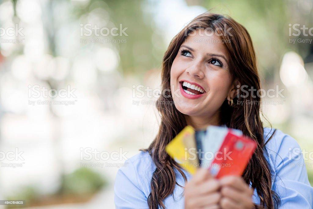 Business woman thinking stock photo