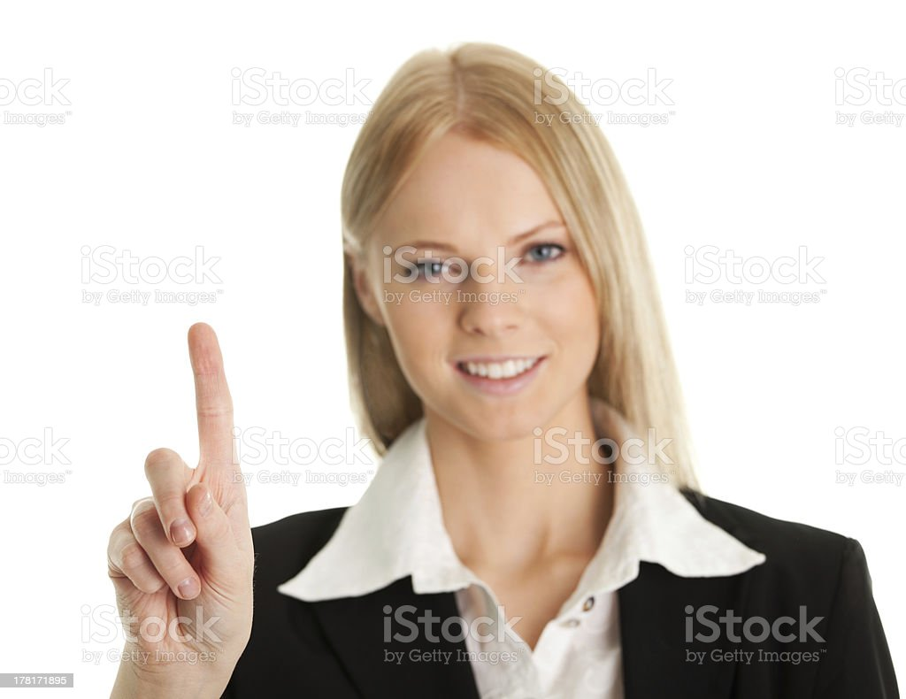 Business woman touching the screen with her finger royalty-free stock photo