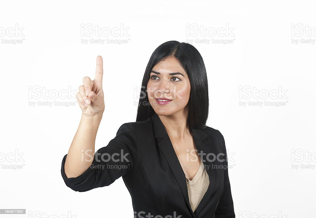 Business woman touching the screen with her finger stock photo