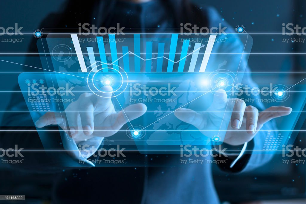 business woman touching virtual screen, pushing icon on media stock photo