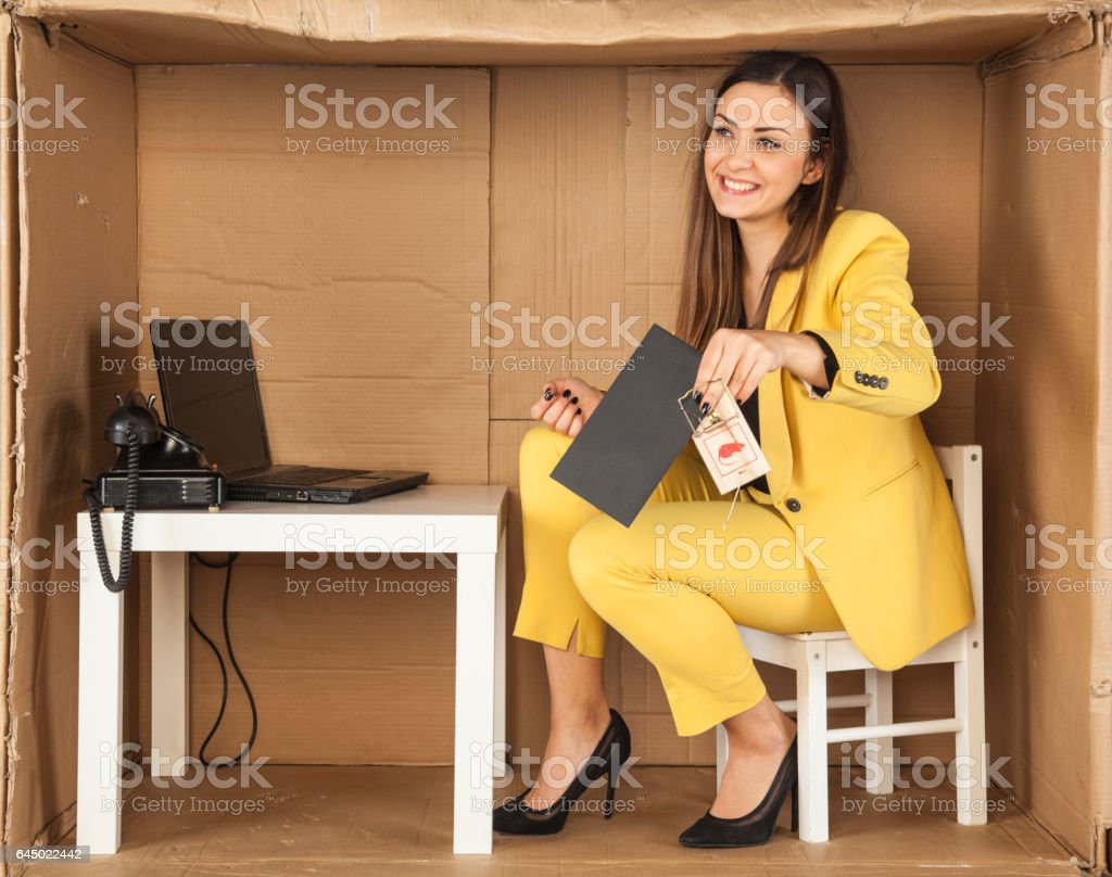 business woman trapped with a bribe, pretending that nothing happened stock photo