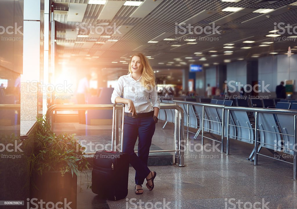 business woman traveling stock photo