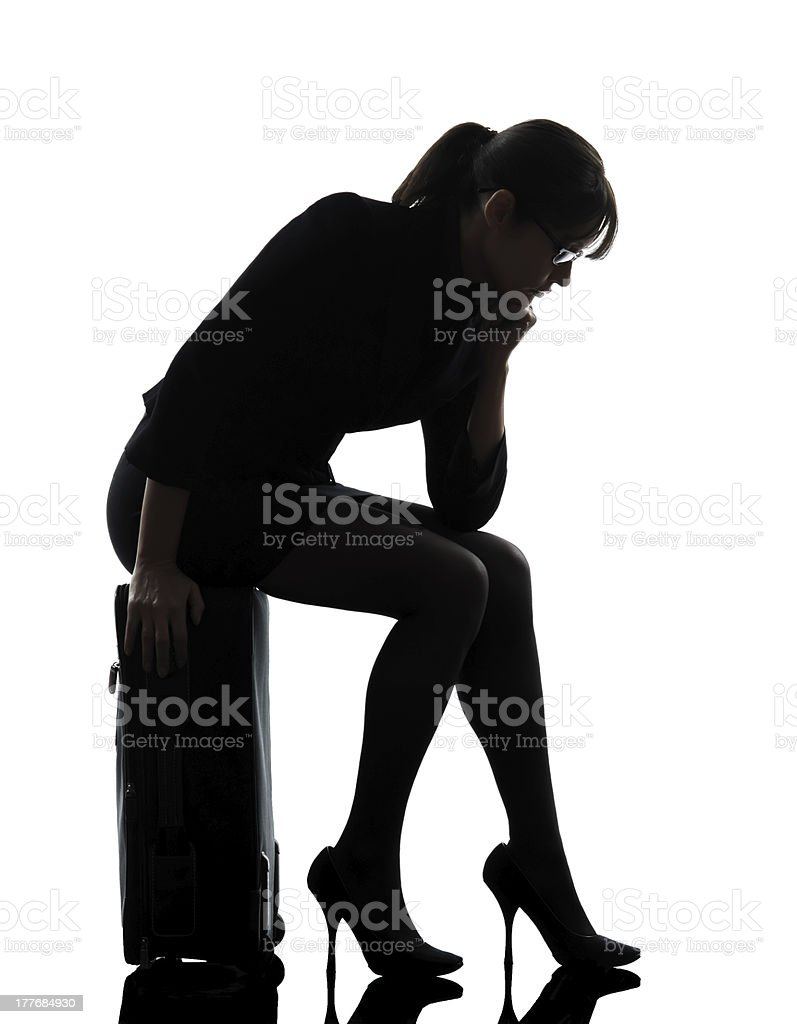 business woman traveling sad tired silhouette royalty-free stock photo