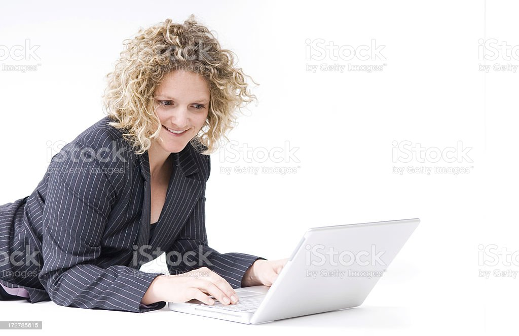 Business Woman Types on Computer royalty-free stock photo