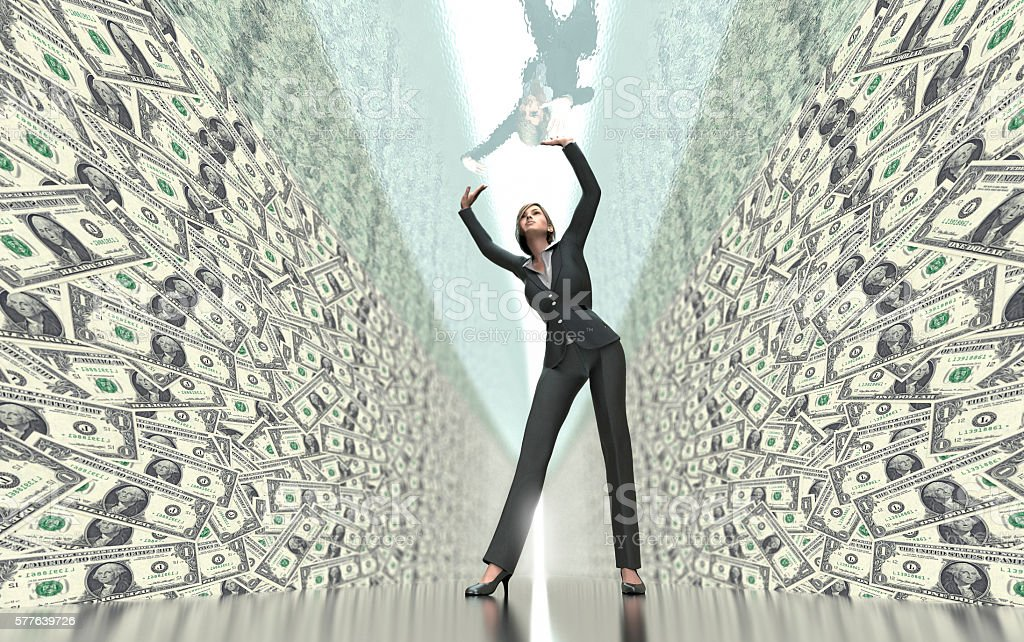 business woman under glass ceiling stock photo